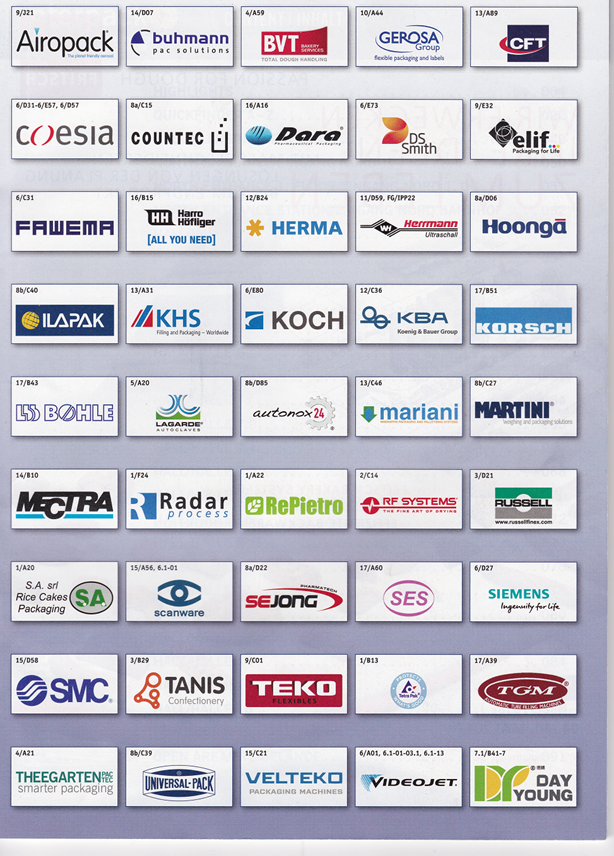 Interpackのオフィシャルガイドブックのメインページに広告を出している企業 このうちの何社をご存知ですか?